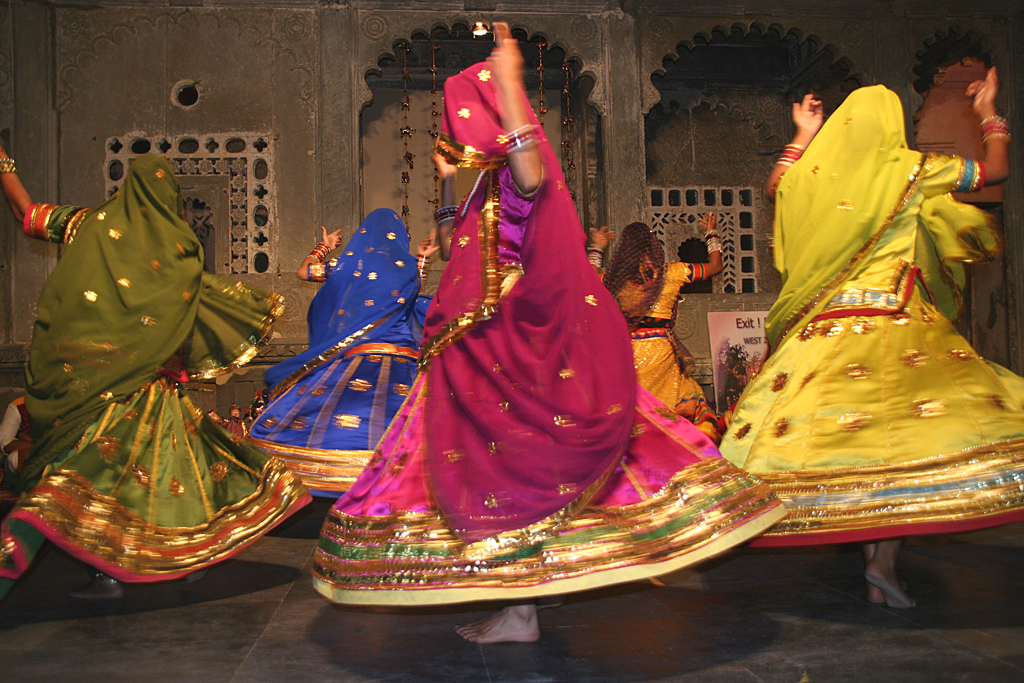 Rajasthani women performing in bright Ghagras
