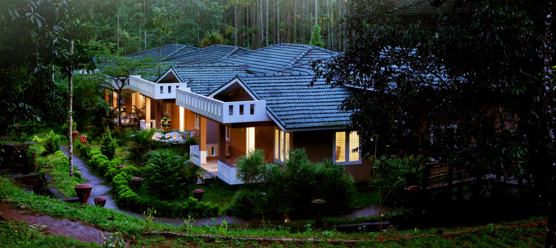Villas at Lakkidi Village Resort Wayanad -  beautiful light set up in the night.